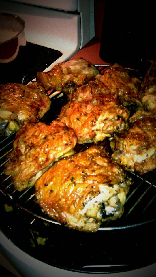 Chicken thighs marinated in salt, pepper, brown sugar, liquid smoke (hickory), a touch of cumin, a touch of cayenne pepper and a cup of water. Made in the NuWave Oven in under an hour!