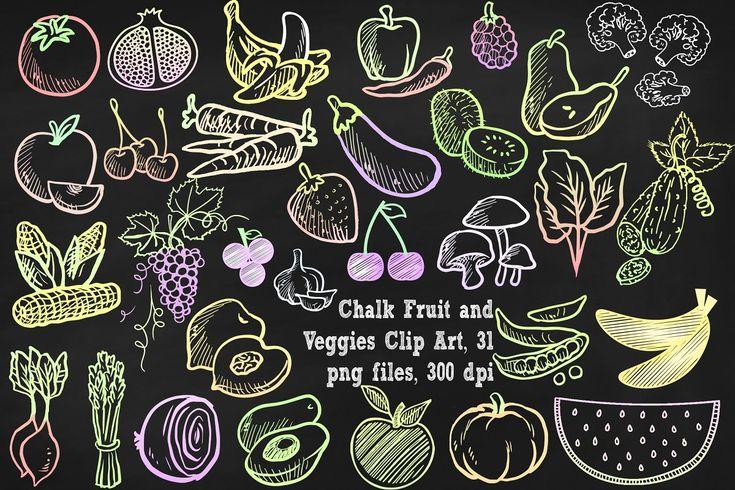 Chalk Fruit & Vegetables Clipart Chalkboard art