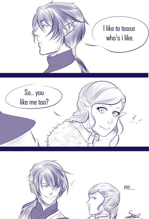 Ezarel:Eu gosto de provoca quem eu gosto. Guardiã:Então...Você gosta de mim também?