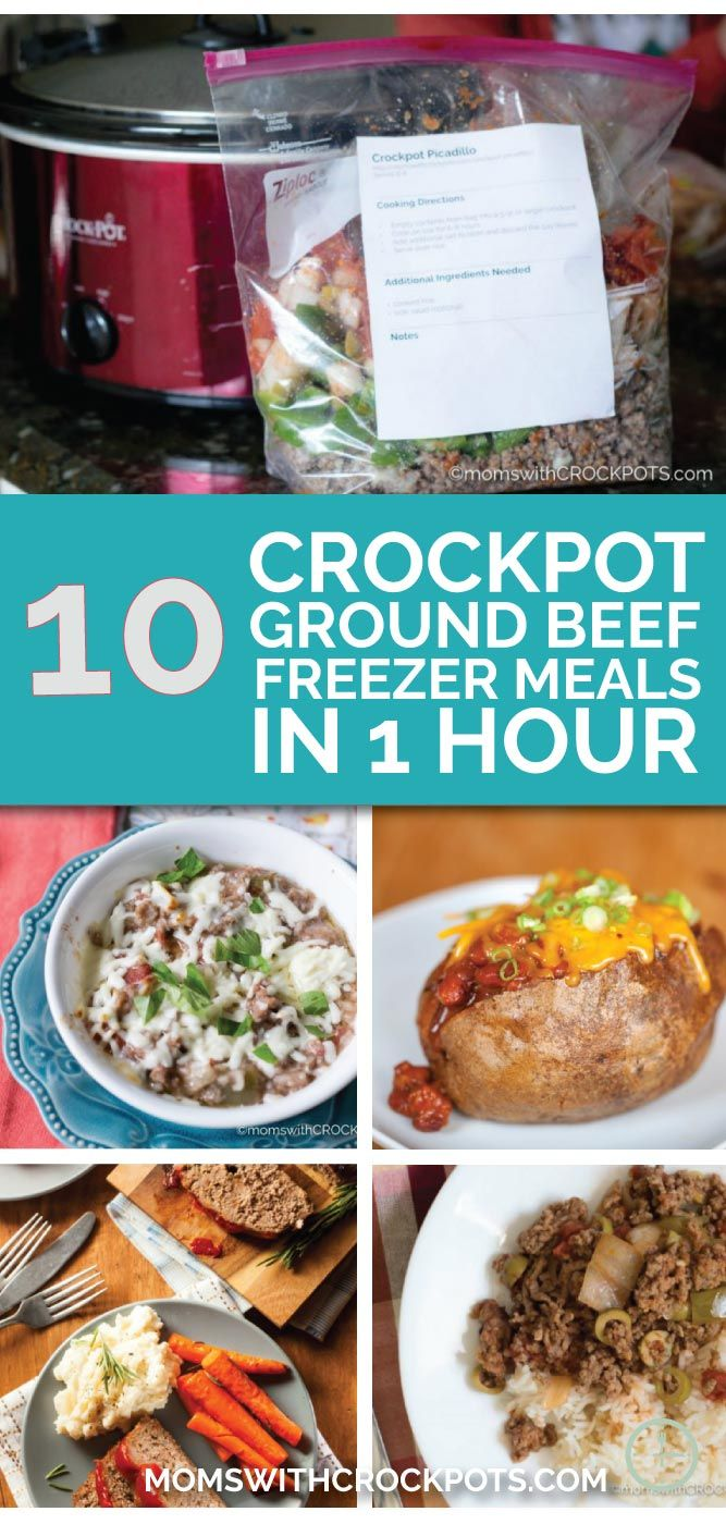 Don't stress about dinner. Save time & money and get this plan to make10 Crockpot Ground Beef Freezer Meals in only 1 Hour!