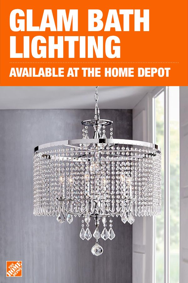 Take Your Bathroom To The Next Level With Lighting From The Home Depot This Glam Chandelier Has Differe Chrome Chandeliers Chandelier How To Make A Chandelier