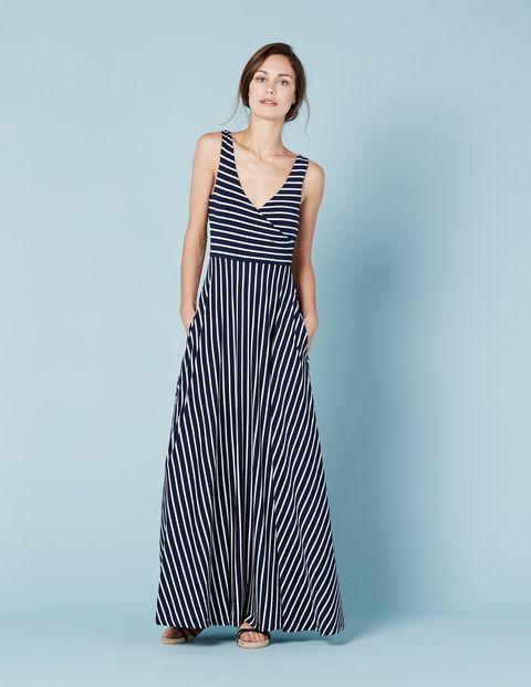 Full Skirt Maxi Dress (Navy/Ivory Stripe)