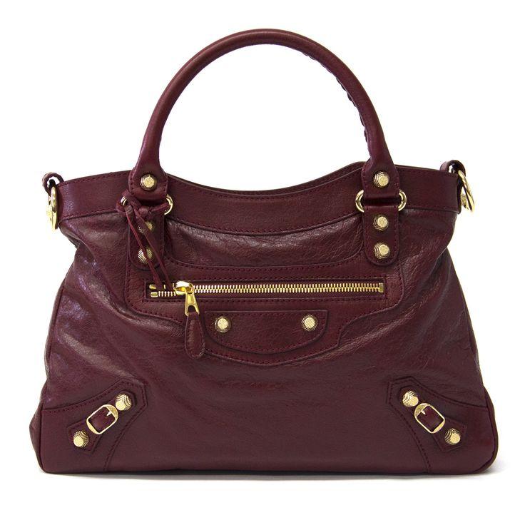 Balenciaga Maroon & Gold Giant Town 12 Handbag