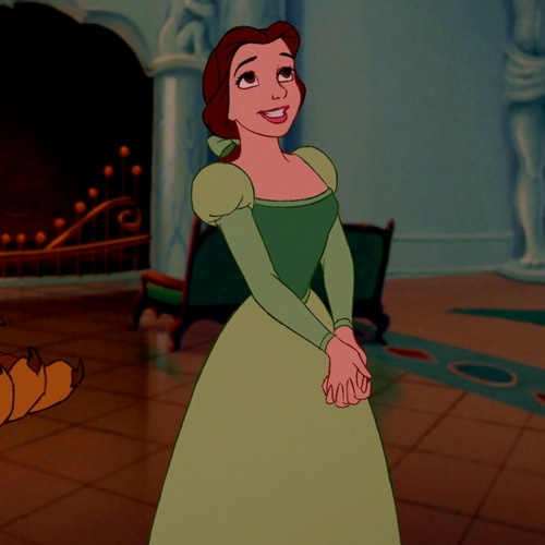 I love Belle's green dress! She looks great in any color.
