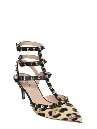 "VALENTINO - 65MM ""ROCKSTUD"" PONYPUMPS MIT LEOPARDENDRUCK - LUISAVIAROMA - LUXURY SHOPPING WORLDWIDE SHIPPING - FLORENZ"
