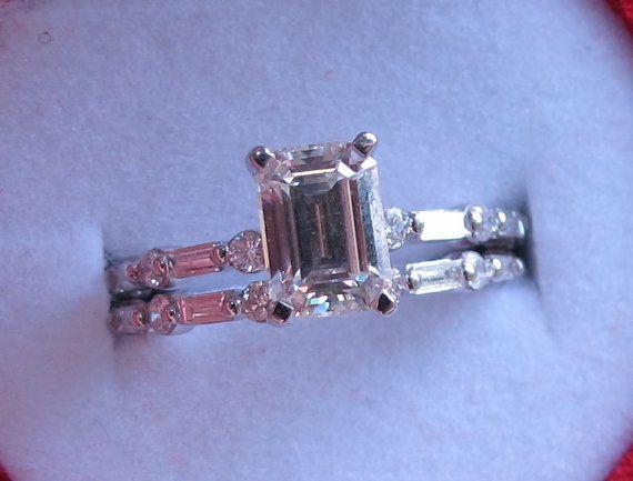 Taglio smeraldo Set anello di fidanzamento di di MRoseDesign