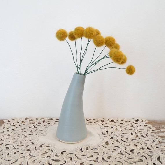 Dark Mustard Yellow Wool Pom Pom Flowers Fake Craspedia Etsy In 2020 Pom Pom Flowers Modern Bouquet Vintage Medicine Bottle