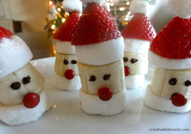 10 regular sized marshmallows (not minis) 2 additional regular sized marshmallows cut into eights (for puff on Santa's hat) 10 one inch tall banana chunks 10 red mini M&Ms 1/2 cup chocolate chips (for melting) 10 strawberries cut to appropriate size for a hat
