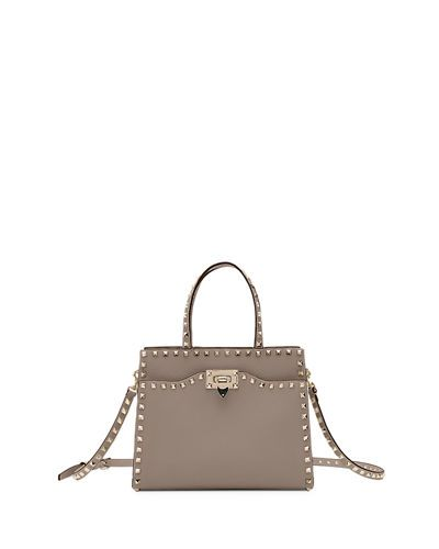 20cac35d4ce40 V3YCJ Valentino Garavani Rockstud Small Vitello Leather Tote Bag ...