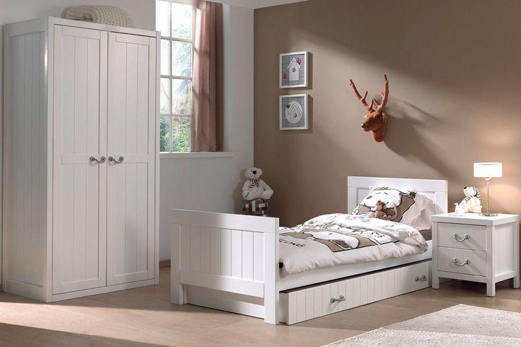 Ensemble 4 pièces pour chambre enfant moderne avec lit 90x200, chevet, tiroir-lit et armoire 2 portes coloris blanc