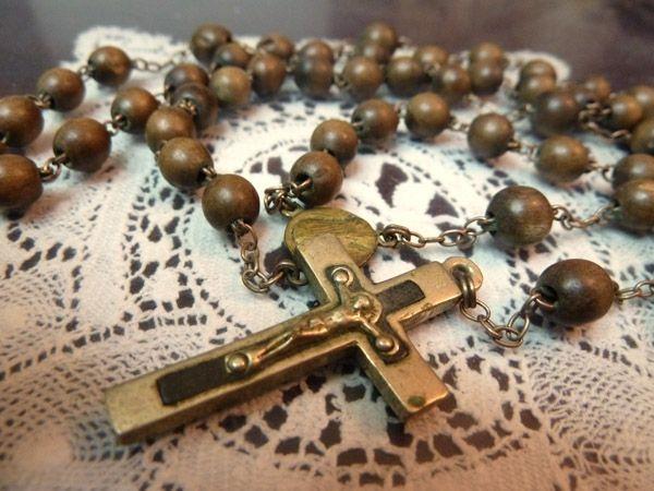 Rosary フランスアンティーク木製珠のロザリオ十字架クロスキリスト教C インテリア 雑貨 家具 Antique ¥3600yen 〆11月01日