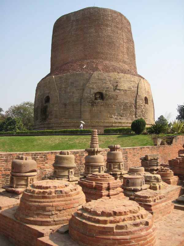 The Dhamek Stupa is said to mark the spot where the Buddha gave the first sermon to his five disciples after attaining enlightenment.