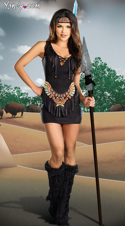 Chief Hottie Body Costume, Black Indian Costume, Fringe ...