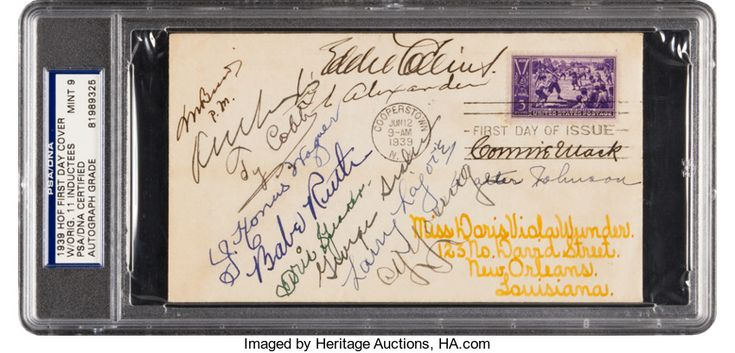 Baseball Collectibles:Others, 1939 Inaugural Hall of Fame Induction Class Signed First Day Cover,PSA/DNA Mint 9. . ...