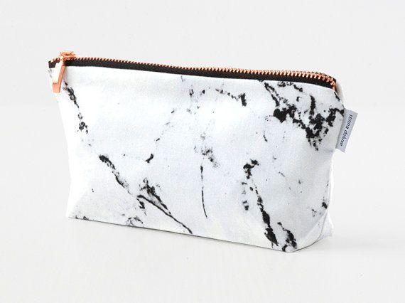 Marmor & KUPFER Tasche // Schminktäschchen Kosmetiktasche Make-up Tasche von renna deluxe