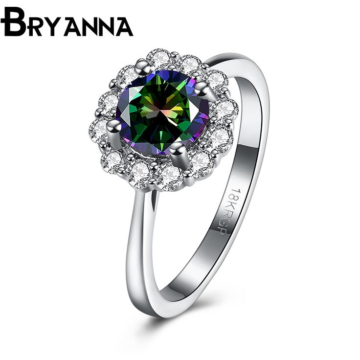 Bryanna Elegant AAA+ Color Zirconia CZ crystal Ring White Gold Filled fashion Jewelry Party Wedding flower Rings For Women R4877