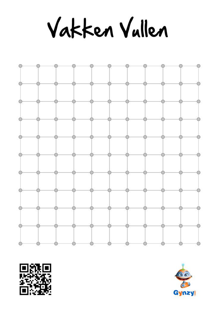 Vakken Vullen (Klassiek): Kleur de meeste vierkantjes. Speel om beurten. Zet telkens op één van de zijden van een vakje een streep in je eigen kleur. Als deze streep het vierkant sluit, dan mag je het vierkant inkleuren met je eigen kleur. (www.gynzy.com)