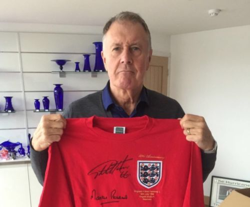 #England 1966 world cup 50th anniversary shirt signed #geoff hurst #martin peters,  View more on the LINK: http://www.zeppy.io/product/gb/2/162177926083/