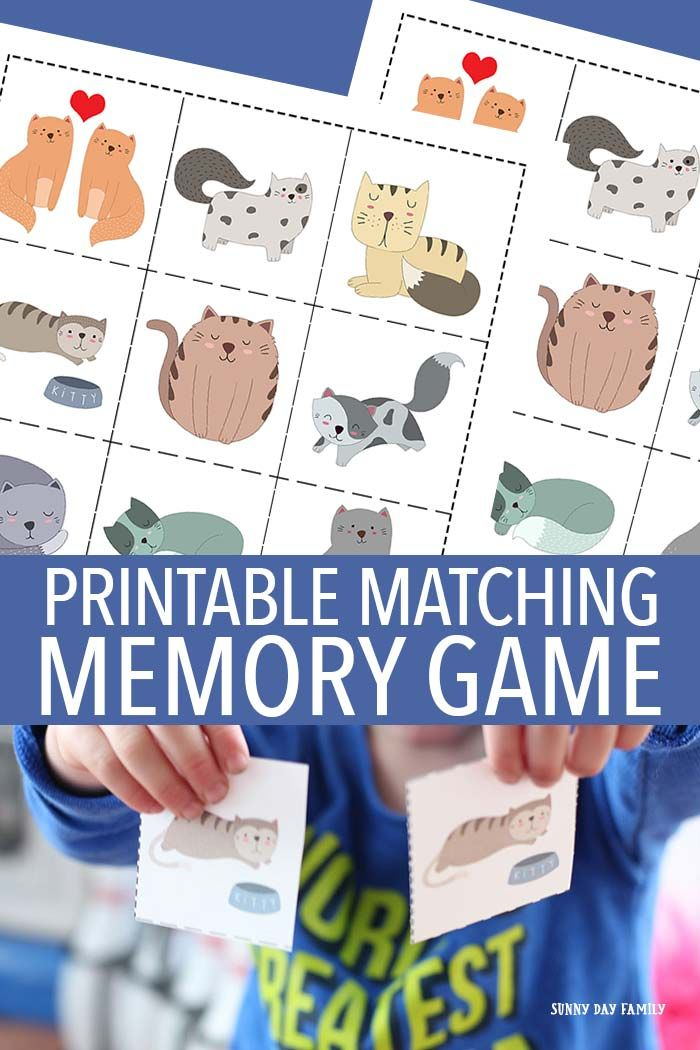Free printable cat matching memory game for kids! Preschoolers love memory games, and these adorable cats will keep them entertained for hours. So cute for little cat lovers and a great learning activity too.