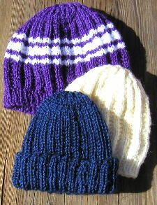 [Three variations of the ribbed cap pattern] I've been making these hats for over a decade! Simple, versatile, and very well fitting.