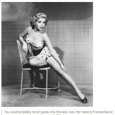 <b>Netlore Archive: Viral image purportedly shows the young Frances Bavier (the actress who played Aunt Bee on the Andy Griffith Show) as a pin-up model.</b>