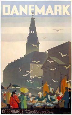 1936 Copenhagen Fish market, Denmark vintage travel poster
