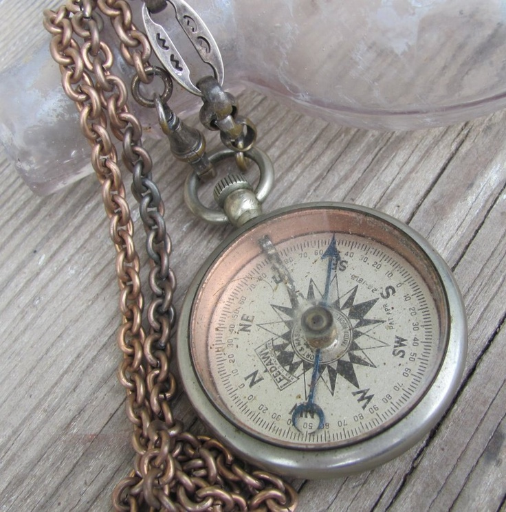 Antique Deco WWI Era Silver Metal Pocket Watch Chain Leedawl Compass Necklace Lux Revival Men Jewelry