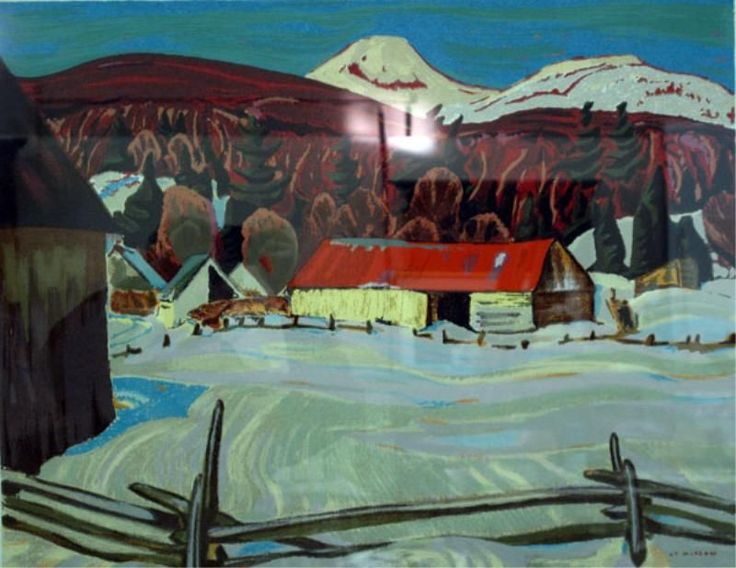 """A.Y. JACKSON SERIGRAPH """"Red Barn in Winter"""""""