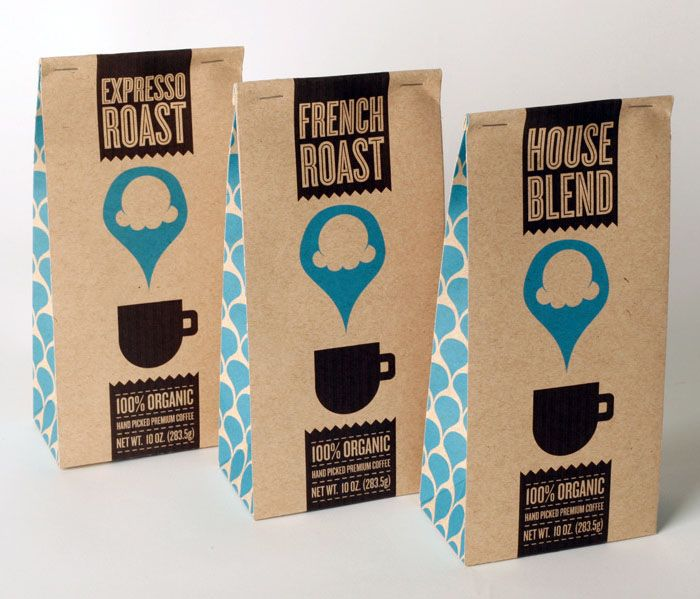 Coffee packaging : hipster coffee. Needs more differentiation between the different blends though. But I like the paper stock.