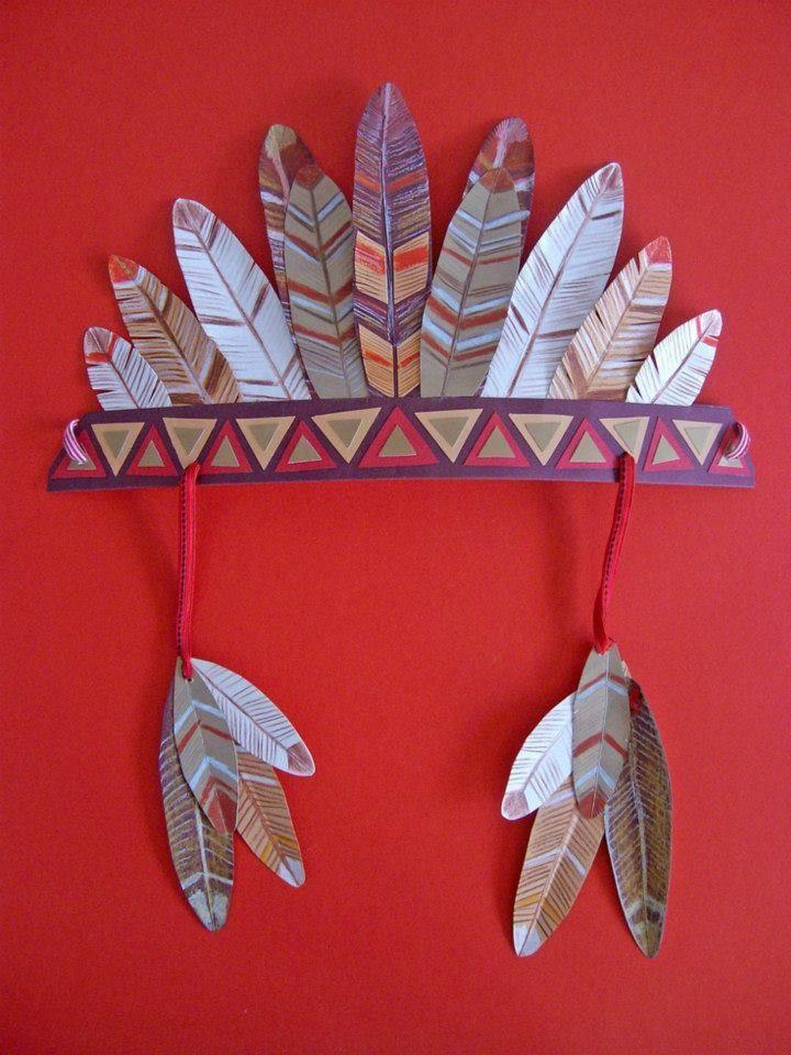 Accesorio casero para disfraz de indio. Complementos disfraz hechos a mano. Plumas indio fáciles