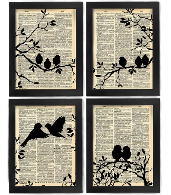 Love at First Sight, Love Birds, Set of 4, Bird art print set, dictionary Art, Book Art, wall Decor, Wall Art Mixed Media Collage, Gift