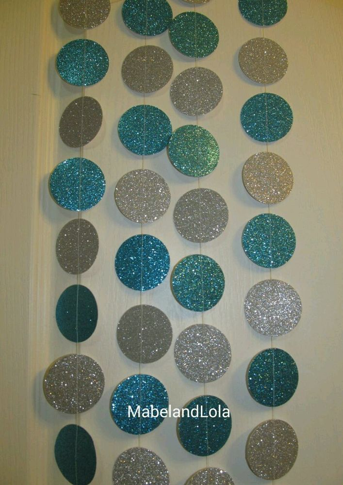$9.99 ebay 15' Silver and Turquoise Frozen Glitter Circle Garland Themed Birthday Party #BirthdayChild
