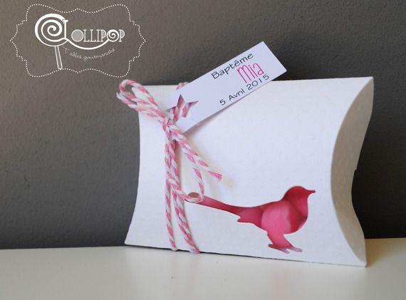 Boîte à dragées thème Oiseau, blanche et rose