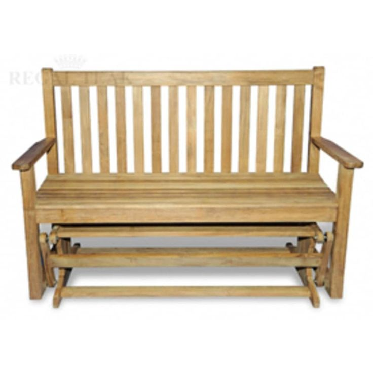 55 Natural Teak Wooden Settee Outdoor Patio Glider Bench, Brown, Patio  Furniture