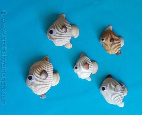 Fishies! never throw away your tiny odd shaped seashells. They can be put to good use too.