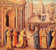 Raymond de Poitiers accueillant Louis VII à Antioche, enluminure de Jean Colombe 1473. Aliénor d'Aquitaine invite le troubadour Jaufré Rudel à le suivre lors de la 2° croisade, et emmène avec elle toute une suite, avec de nombreux chariots. Augmentée des épouses des autres croisès, la croisade française se trouve encombrée d'un interminable convoi qui la ralentit. La découverte e l'Orient, avec ses fastes et ses mystères, fascine Aliénor et rebute Louis à la piété austère et rigoureuse.