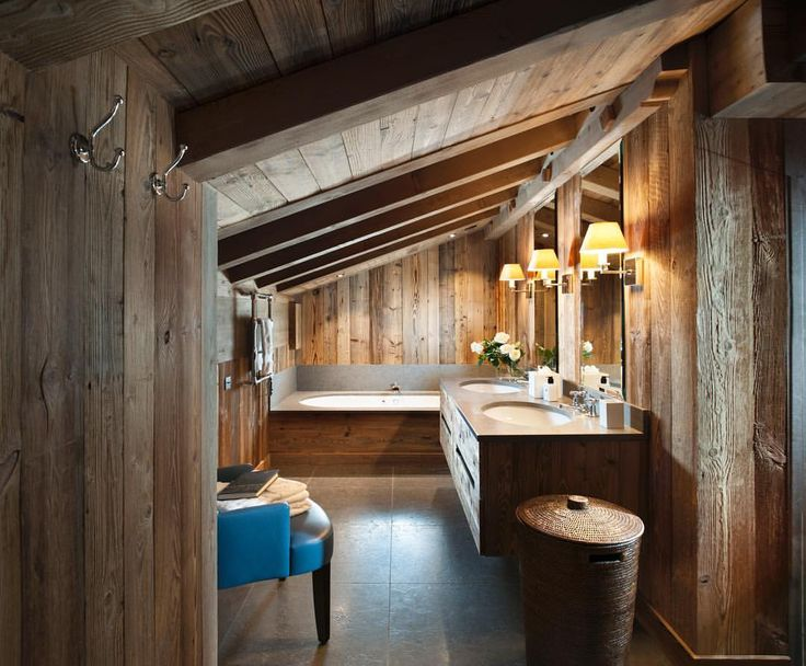 Locally sourced timbers keep this farmhouse in #TheAlps as authentic as it can be. Imagine waking up to this master en-suite every day... #NDID . . . #chaletdesign #summerinthealps #interiordesigner #nickydobreeinteriordesign #chalet #chaletstyle #alpinestyle #farmhouse #alpinehome #ensuite #bathroomdesign #luxuryinteriordesign #NDID