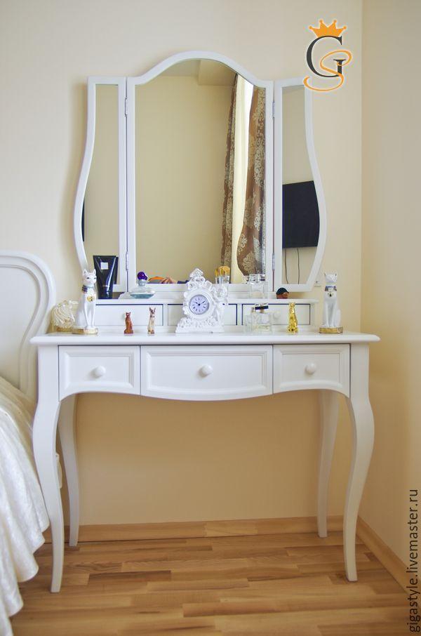 Купить Трюмо с кабриольными ножками и зеркалом - белый, трюмо, туалетный столик, зеркало в раме
