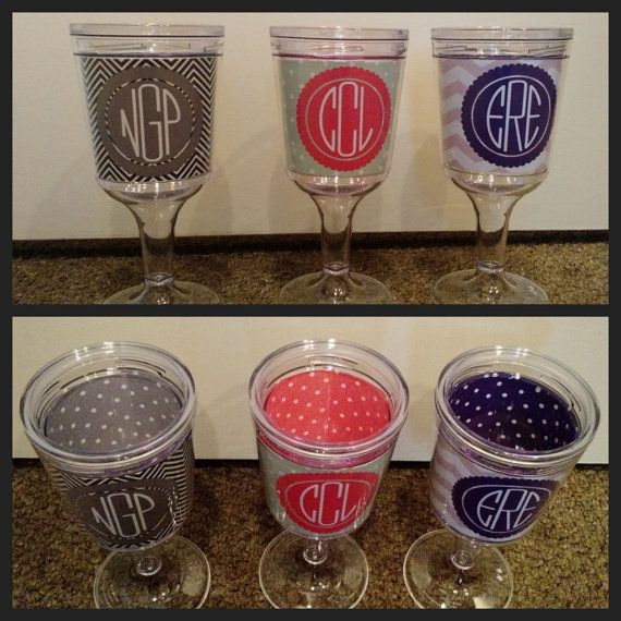 Personalized Wine Glass  Monogrammed Acrylic by TheIronTractor