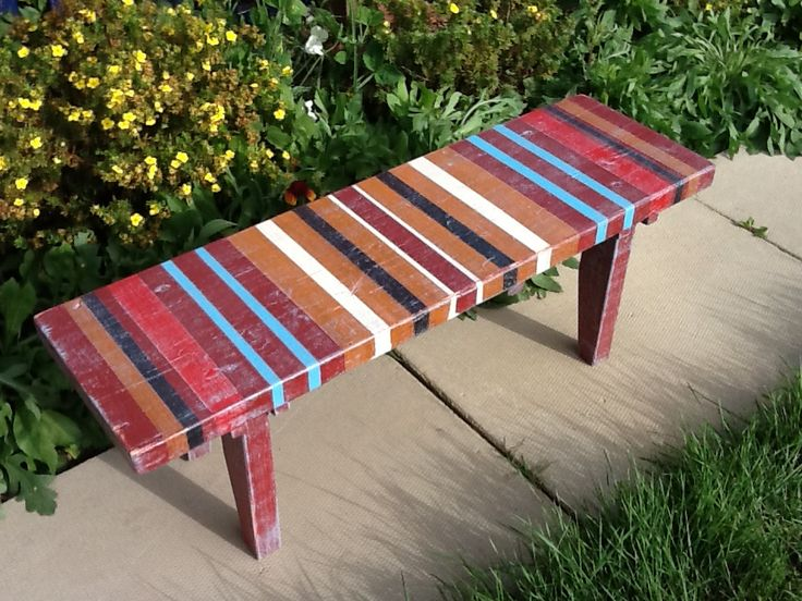 Penny Bench by Calico Studio Handcrafted from reclaimed wood, painted, distressed and varnished. Calicostudio12@gmail.com