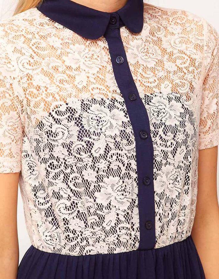 lace chiffon shirt dress