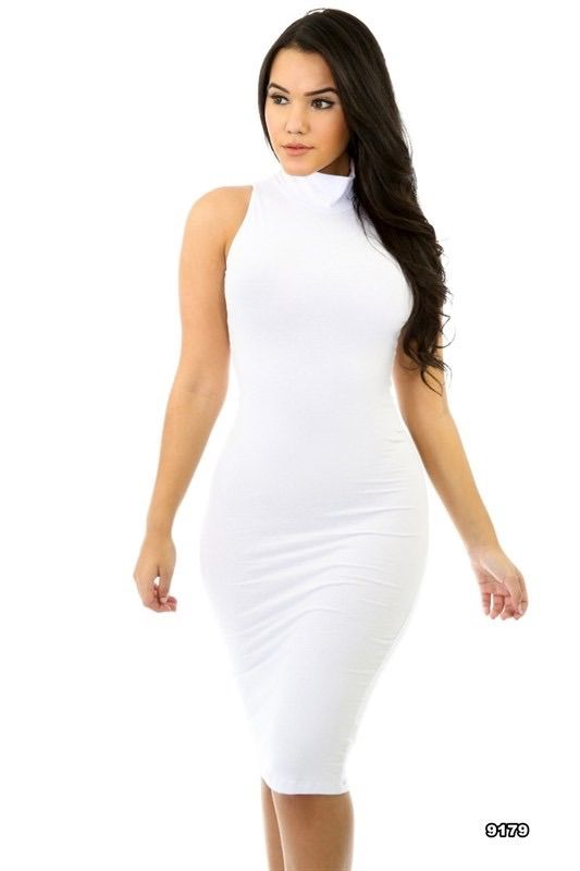 Jalissa White Turtleneck Midi Dress   The All White Party ...