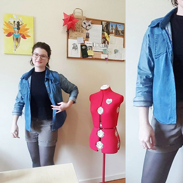 Day 6 of #memademay and I am determined to start taking better photos! Lighting is dismal at my house, but there are little spaces where the sun peeks in :) Going to search the house for prime locations. Jacket is made from two old pairs of jeans and made using the #archershirt  pattern. Shorts are self-drafted and made from op-shopped material, and jumper is store-bought. I don't knit (yet!) so my knits are generally store-bought. . . . #mmm17 #memademay2017 #memademay17 #sewistsofinstagram…