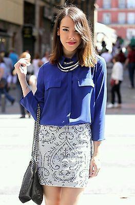 ZARA embroidered mini skirt embilleshed Pailletten Rock size S, M, XS