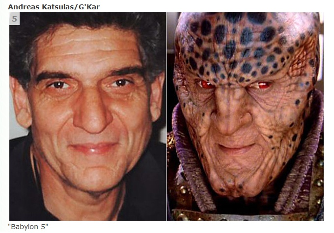 "Andreas Katsulas as G'Kar in ""Babylon 5""  Also played the one-armed man in The Fugitive and Tamaloc in Star Trek the Next Generation"
