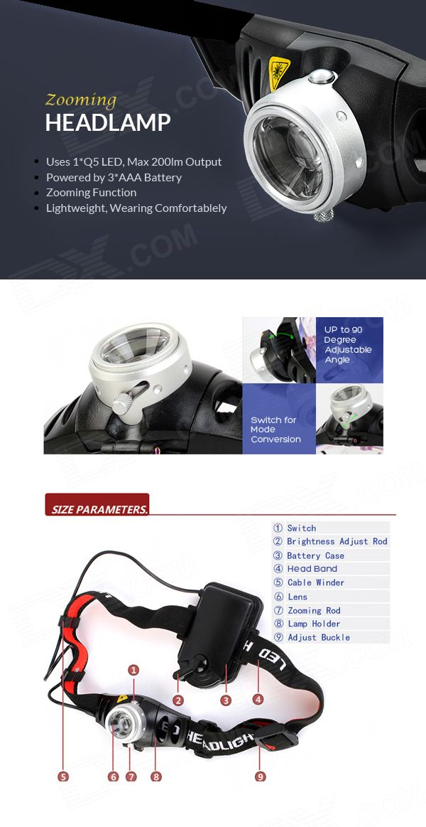 Buy Zooming Cree Q5 200LM 2-Mode 1-LED White Light Headlamp (3 x AAA/3.6-4.5V)