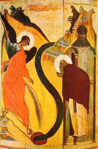 Early 15th century Russian icon depicting the miracle of St. Michael at Chonae.