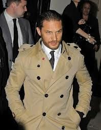 Tom Hardy wearing Burberry trench coat.
