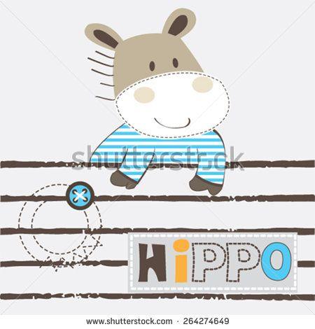 cute hippo cartoon vector illustration - stock vector