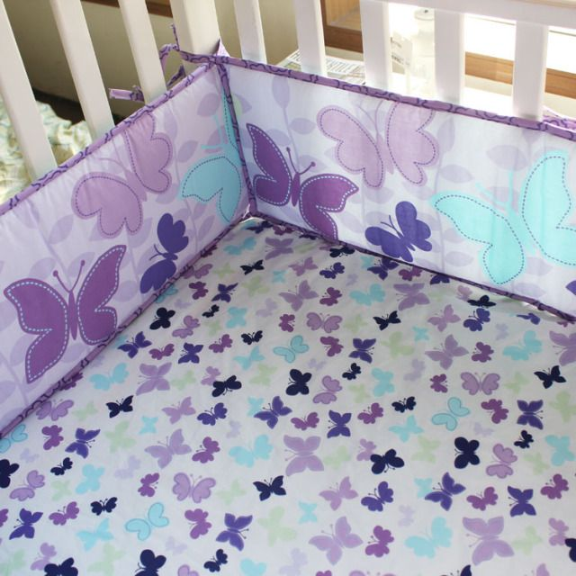 purple quilts | Details about Butterly Purple 4pcs baby girl Crib Bedding Set Quilt ...